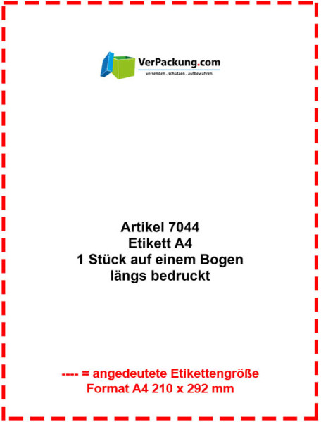 Etiketten auf A4 Bogen - Größe Din A4