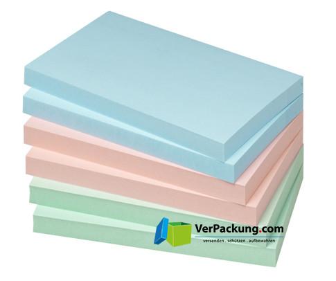 Haftnotizen 125 x 75 mm pastellmix blanko 6erPack