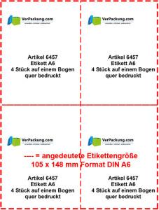 Etiketten auf A4 Bogen - Größe Din A6