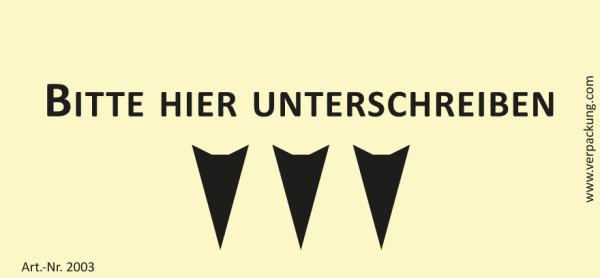 Bedruckte Haftnotiz - Bitte hier unterschreiben (Pfeil nach unten) gelb/schwarz
