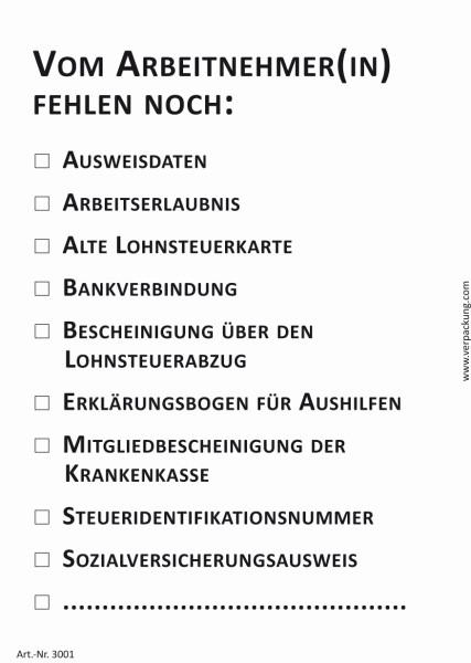 Bedruckte Haftnotiz - Vom Arbeitnehmer(in) fehlen noch: (10fache Auswahl) weiß/schwarz