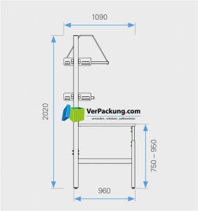 Komplett-Packtisch hoch 2.000 x 900 mm