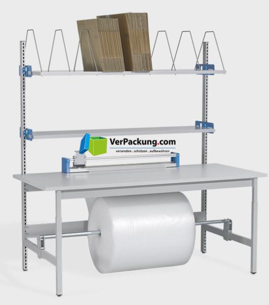 Komplett-Packtisch hoch mit Rollenhalter 2.000 x 900 mm