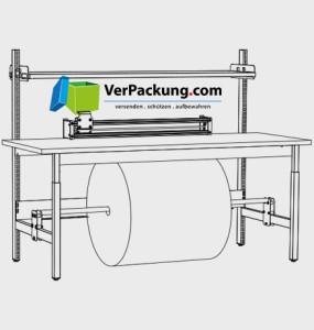Komplett-Packtisch niedrig mit Rollenhalter 1.600 x 900 mm
