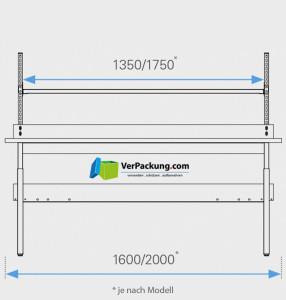 Komplett-Packtisch niedrig mit Rollenhalter 2.000 x 900 mm
