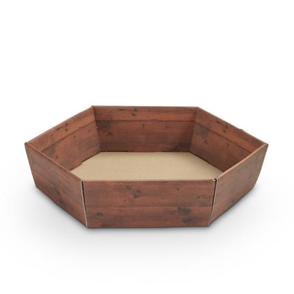 Geschenkkorb sechseckig klein Holzdekor