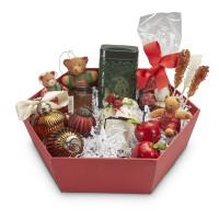 Geschenkkorb sechseckig mittel Rubin Rot