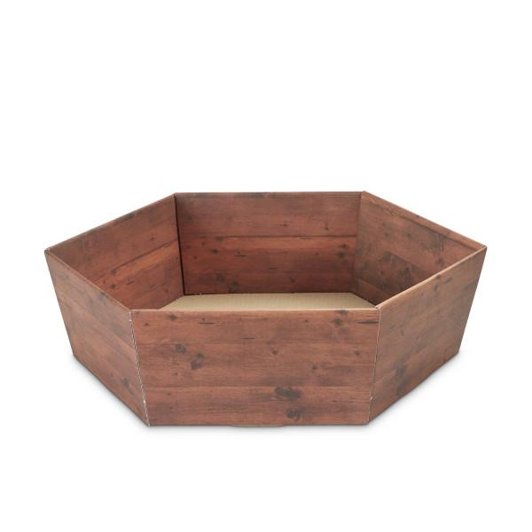 Geschenkkorb sechseckig mittel Holzdekor