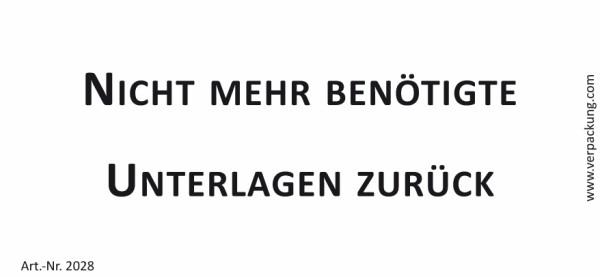 Bedruckte Haftnotiz - Nicht mehr benötigte Unterlagen zurück weiß/schwarz