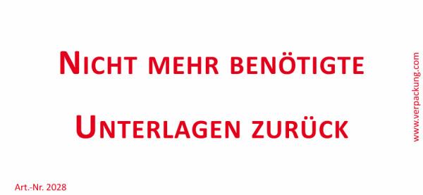 Bedruckte Haftnotiz - Nicht mehr benötigte Unterlagen zurück weiß/rot