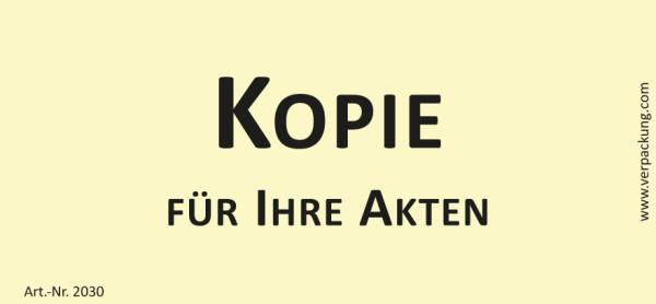 Bedruckte Haftnotiz - Kopie für Ihre Akten gelb/schwarz