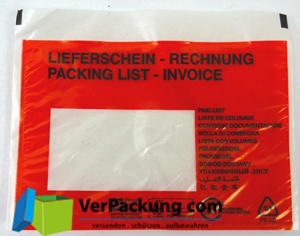 Lieferscheintaschen - Begleitpapiertaschen - Dokumententaschen aus PCR Recyclingmaterial C6 - 1000 Stück