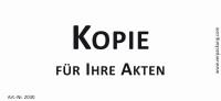 Bedruckte Haftnotiz - Kopie für Ihre Akten weiß/schwarz
