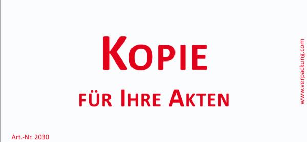 Bedruckte Haftnotiz - Kopie für Ihre Akten weiß/rot