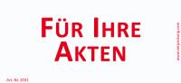 Bedruckte Haftnotiz - Für Ihre Akten weiß/rot