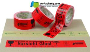 """linio verda® Warnband """"Vorsicht Glas"""" Papier - 50 mm x 50 lfm rot"""