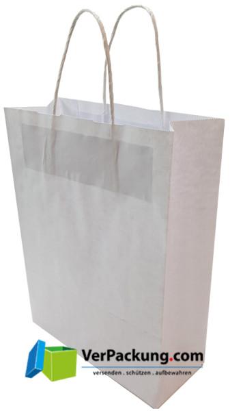 Papiertragetasche weiss Größe L - 450 + 150 x 460 mm