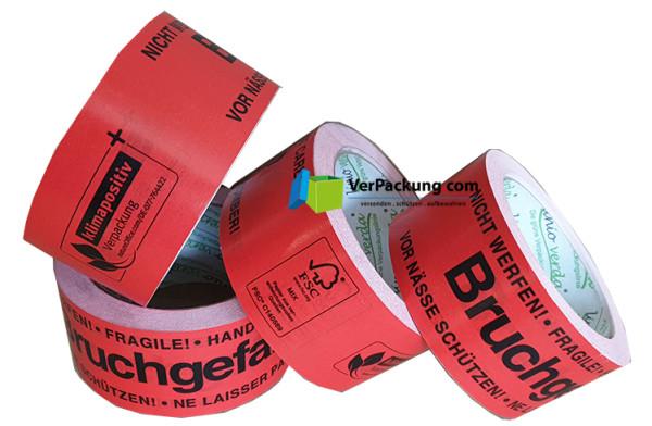 """linio verda® Warnband """"Bruchgefahr"""" Papier - 50 mm x 50 lfm rot"""