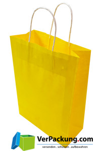 Papiertragetasche gelb Größe M - 320 + 140 x...