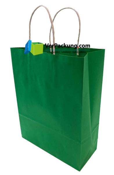 Papiertragetasche grün Größe S - 240 + 100 x 310 mm