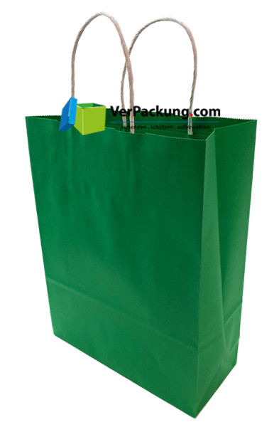 Papiertragetasche grün Größe M - 320 + 140 x 410 mm