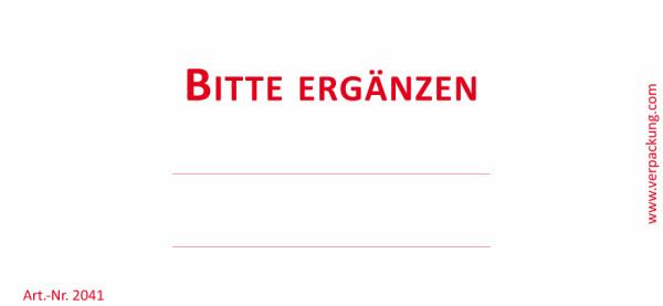 Bedruckte Haftnotiz - Bitte ergänzen weiß/rot