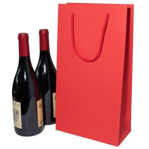 Flaschentasche 2er, Rubin Rot