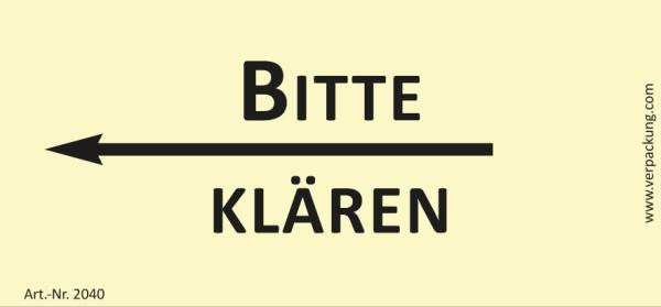 Bedruckte Haftnotiz - Bitte klären (Pfeil nach links) gelb/schwarz