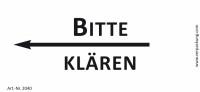 Bedruckte Haftnotiz - Bitte klären (Pfeil nach links) weiß/schwarz