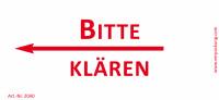 Bedruckte Haftnotiz - Bitte klären (Pfeil nach links) weiß/rot