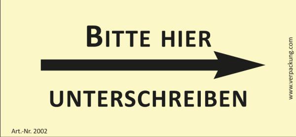 Bedruckte Haftnotiz - Bitte hier unterschreiben (Pfeil rechts)  gelb/schwarz