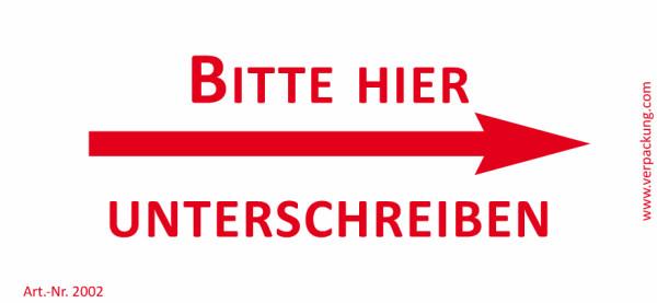 Bedruckte Haftnotiz - Bitte hier unterschreiben (Pfeil rechts)  weiß/rot
