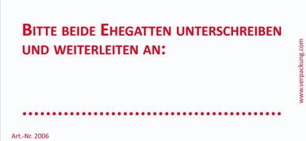 Bedruckte Haftnotiz - Bitte beide Ehegatten unterschreiben und weiterleiten an  weiß/rot