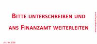 Bedruckte Haftnotiz - Bitte unterschreiben und ans Finanzamt weiterleiten  weiß/rot