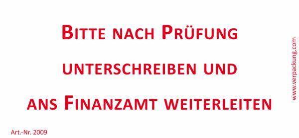 Bedruckte Haftnotiz - Bitte nach Prüfung unterschreiben und ans Finanzamt weiterleiten  weiß/rot