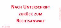 Bedruckte Haftnotiz - Nach Unterschrift zurück zum Rechtsanwalt  weiß/rot