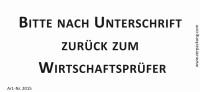 Bedruckte Haftnotiz - Bitte nach Unterschrift zurück zum Wirtschaftsprüfer  weiß/schwarz