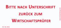 Bedruckte Haftnotiz - Bitte nach Unterschrift zurück zum Wirtschaftsprüfer  weiß/rot