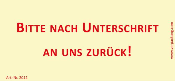 Bedruckte Haftnotiz - Bitte nach Unterschrift an uns zurück!  gelb/rot