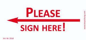 Bedruckte Haftnotiz - Please sign here! (Pfeil nach...