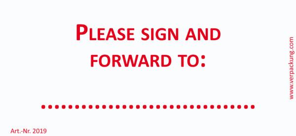 Bedruckte Haftnotiz - Please sign and forward to: ... weiß/rot