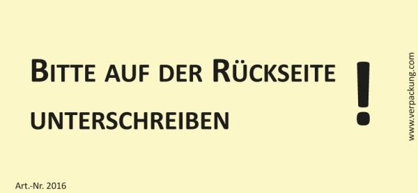 Bedruckte Haftnotiz - Bitte auf der Rückseite unterschreiben!  gelb/schwarz