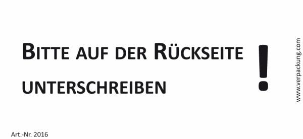 Bedruckte Haftnotiz - Bitte auf der Rückseite unterschreiben!  weiß/schwarz