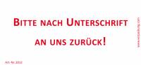 Bedruckte Haftnotiz - Bitte nach Unterschrift an uns zurück!  weiß/rot