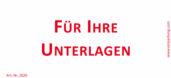Bedruckte Haftnotiz - Für Ihre Unterlagen weiß/rot