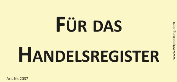 Bedruckte Haftnotiz - Für das Handelsregister gelb/schwarz