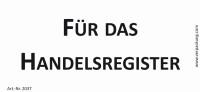 Bedruckte Haftnotiz - Für das Handelsregister weiß/schwarz