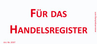 Bedruckte Haftnotiz - Für das Handelsregister weiß/rot