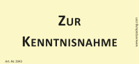 Bedruckte Haftnotiz - Zur Kenntnisnahme  gelb/schwarz