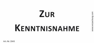 Bedruckte Haftnotiz - Zur Kenntnisnahme  weiß/schwarz